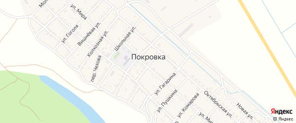 Советская улица на карте села Покровки Астраханской области с номерами домов