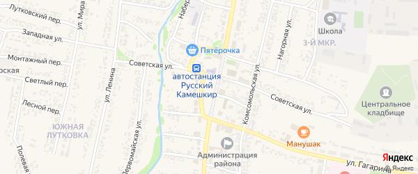 Рабочий переулок на карте села Русского Камешкира Пензенской области с номерами домов