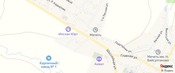 Шоссейная улица на карте села Илсхан-Юрт Чечни с номерами домов