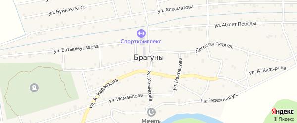 Щедринская улица на карте села Брагунов Чечни с номерами домов