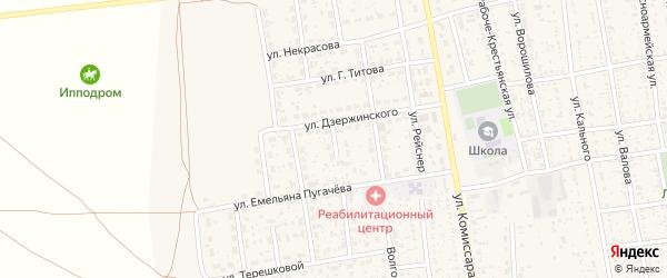 Переулок Дзержинского на карте села Черного Яра Астраханской области с номерами домов