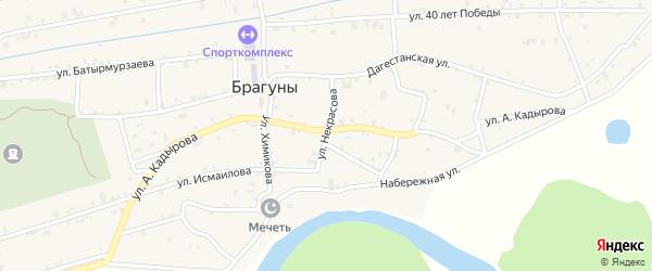 Улица Некрасова на карте села Брагунов Чечни с номерами домов