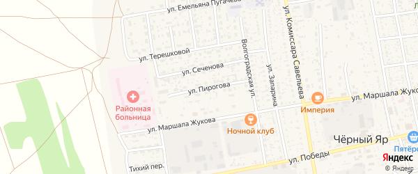 Улица Пирогова на карте села Черного Яра Астраханской области с номерами домов