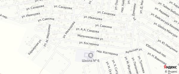Улица Мальчиковской на карте Гудермеса с номерами домов