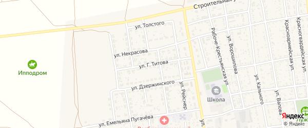 Улица Титова на карте села Черного Яра Астраханской области с номерами домов