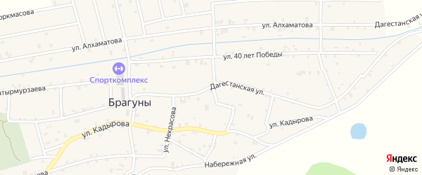 Дагестанская улица на карте села Брагунов Чечни с номерами домов