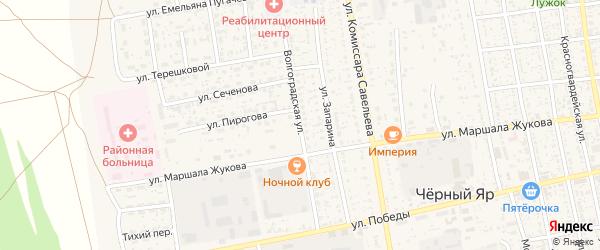 Волгоградская улица на карте села Черного Яра Астраханской области с номерами домов