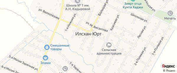 Улица Полевой 1-й на карте села Илсхан-Юрт с номерами домов