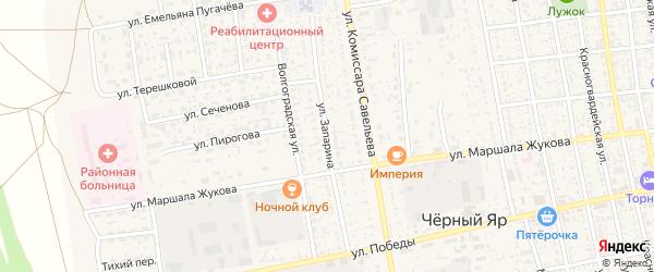 Улица К.Запарина на карте села Черного Яра Астраханской области с номерами домов