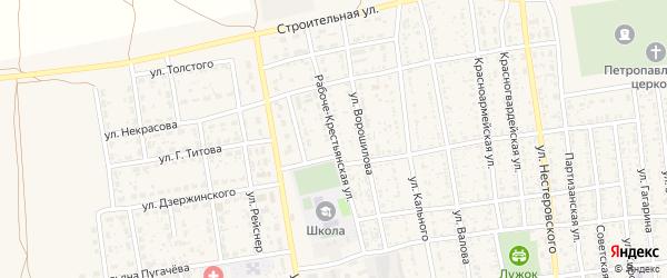 Рабоче-Крестьянская улица на карте села Черного Яра Астраханской области с номерами домов