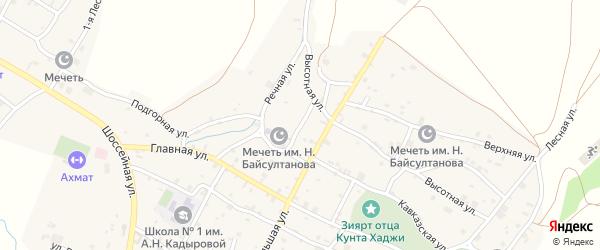 Мечетная улица на карте села Илсхан-Юрт Чечни с номерами домов