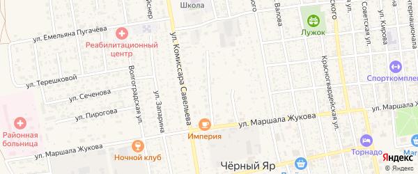Центральный микрорайон на карте села Черного Яра Астраханской области с номерами домов