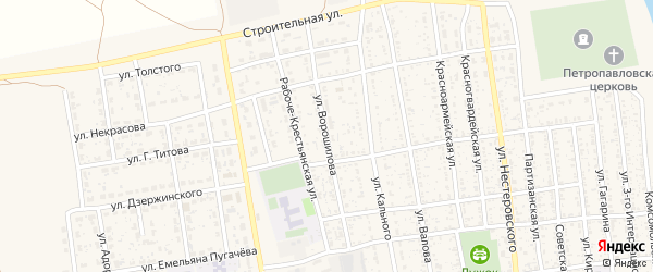 Улица Ворошилова на карте села Черного Яра Астраханской области с номерами домов