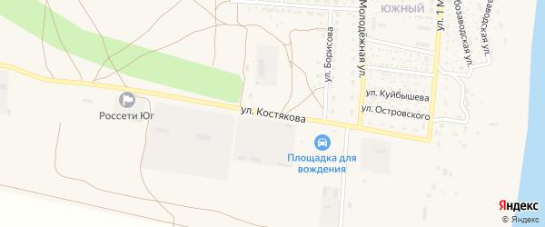 Улица Костякова на карте села Черного Яра Астраханской области с номерами домов