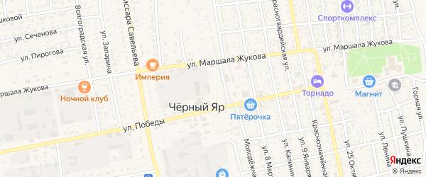 Переулок Е.Пугачева на карте села Черного Яра Астраханской области с номерами домов