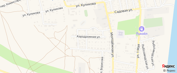 Аэродромная улица на карте села Черного Яра Астраханской области с номерами домов