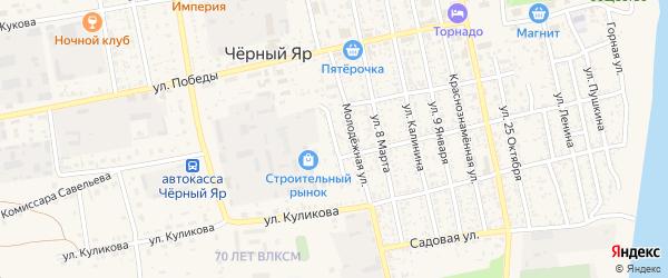 Молодежный переулок на карте села Черного Яра Астраханской области с номерами домов