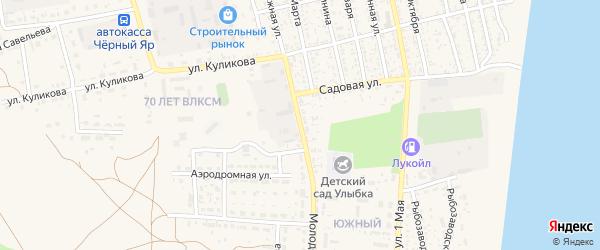 Молодежная улица на карте села Черного Яра Астраханской области с номерами домов