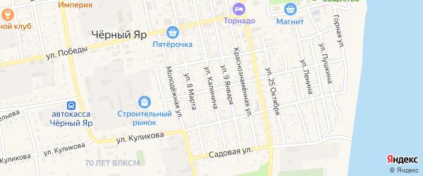 Улица Калинина на карте села Черного Яра Астраханской области с номерами домов