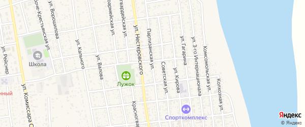 Партизанская улица на карте села Черного Яра Астраханской области с номерами домов