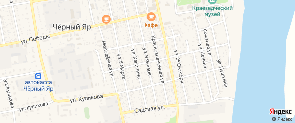 Улица 9-го Января на карте села Черного Яра Астраханской области с номерами домов