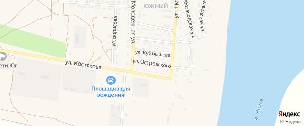 Улица Н.Островского на карте села Черного Яра Астраханской области с номерами домов