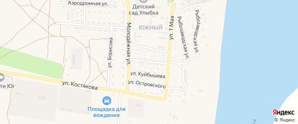 Астраханская улица на карте села Черного Яра Астраханской области с номерами домов