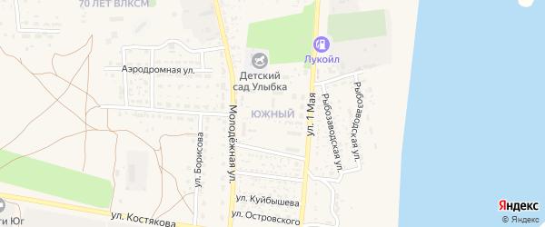 Южный микрорайон на карте села Черного Яра Астраханской области с номерами домов