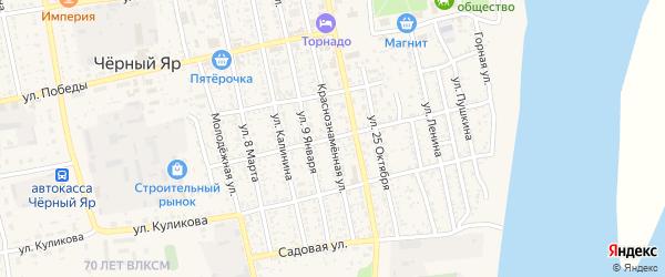 Краснознаменная улица на карте села Черного Яра Астраханской области с номерами домов