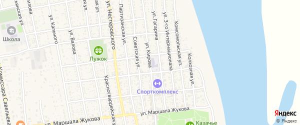 Улица Кирова на карте села Черного Яра Астраханской области с номерами домов