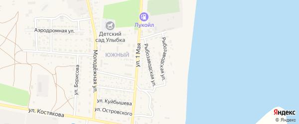 Рыбозаводская улица на карте села Черного Яра Астраханской области с номерами домов