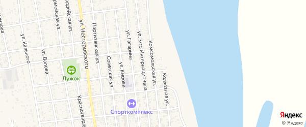Комсомольская улица на карте села Черного Яра Астраханской области с номерами домов