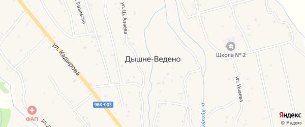 Улица Ш.Азаева на карте села Дышне-Ведено Чечни с номерами домов