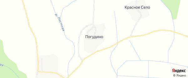 Карта деревни Погудино в Вологодской области с улицами и номерами домов