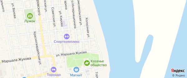 Колхозная улица на карте села Черного Яра Астраханской области с номерами домов