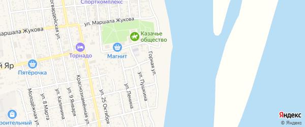 Горная улица на карте села Черного Яра Астраханской области с номерами домов