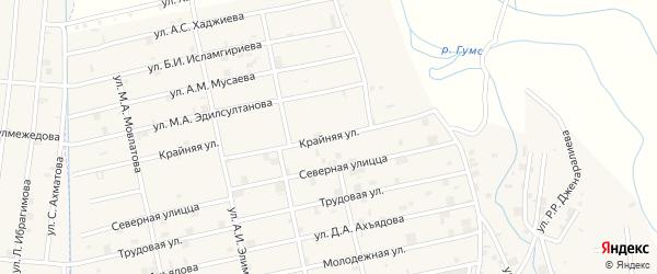 Крайняя улица на карте села Центарой Чечни с номерами домов