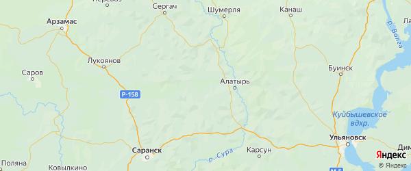 Карта Ардатовского района Республики Мордовии с городами и населенными пунктами