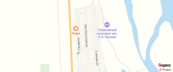 Институтская улица на карте села Соленого Займища Астраханской области с номерами домов