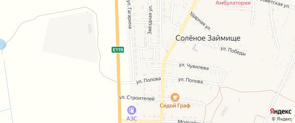 Светлый переулок на карте села Соленого Займища Астраханской области с номерами домов