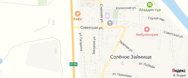 Звездная улица на карте села Соленого Займища Астраханской области с номерами домов
