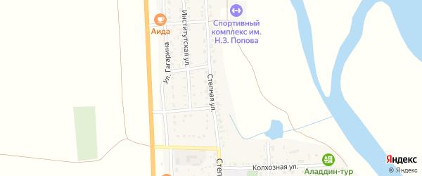Степная улица на карте села Соленого Займища Астраханской области с номерами домов