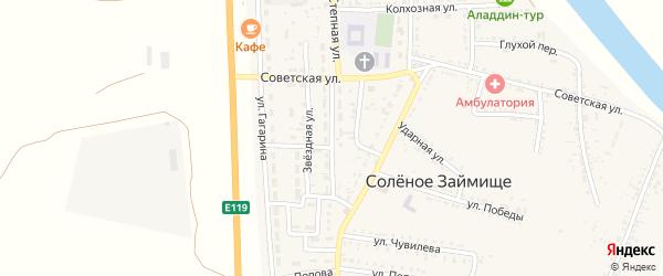 Интернациональная улица на карте села Соленого Займища Астраханской области с номерами домов