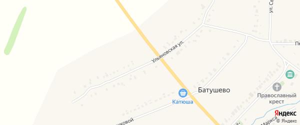 Ульяновская улица на карте села Батушево Мордовии с номерами домов