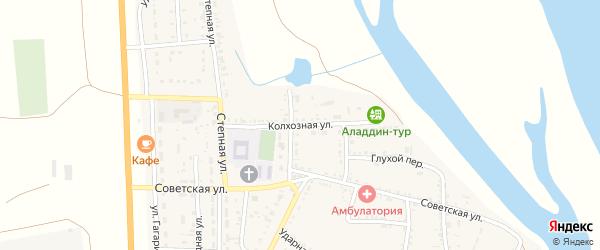 Колхозная улица на карте села Соленого Займища Астраханской области с номерами домов
