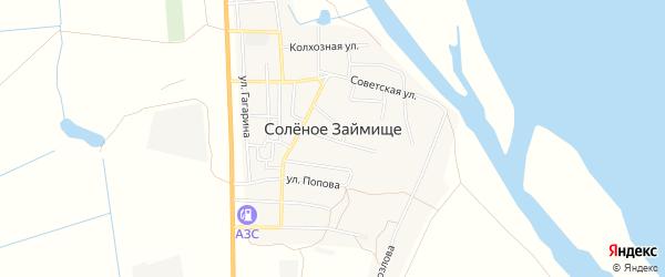 Точка Боевская территория на карте села Соленого Займища Астраханской области с номерами домов