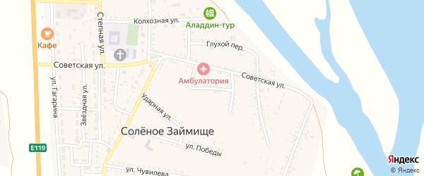 Кузнечная улица на карте села Соленого Займища Астраханской области с номерами домов
