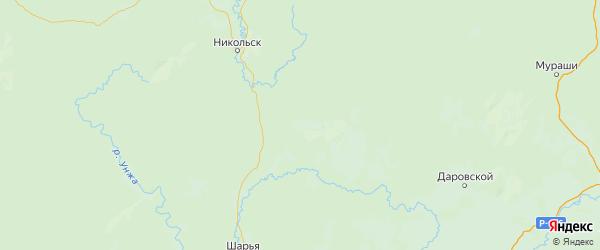 Карта Павинского района Костромской области с городами и населенными пунктами