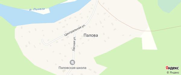 Школьный переулок на карте поселка Палова с номерами домов