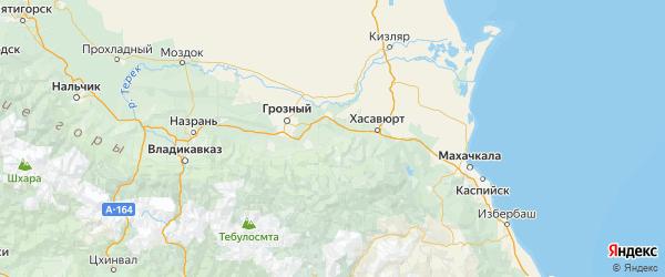 Карта Курчалоевский района Республики Чечни с городами и населенными пунктами